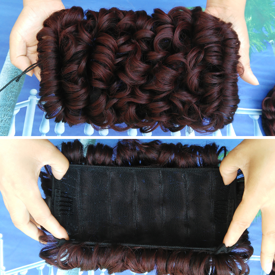 DIFEI With Elastic Combs Clip in Hairpiece Womens Elastic Net Curly Chignon With Hair Bun Black Brown Hair Extension