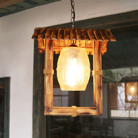 American rural handmade bamboo chandelier Southeast Asia style archaistic crackle glass E27 LED lamp for studio&pavilion LDK033