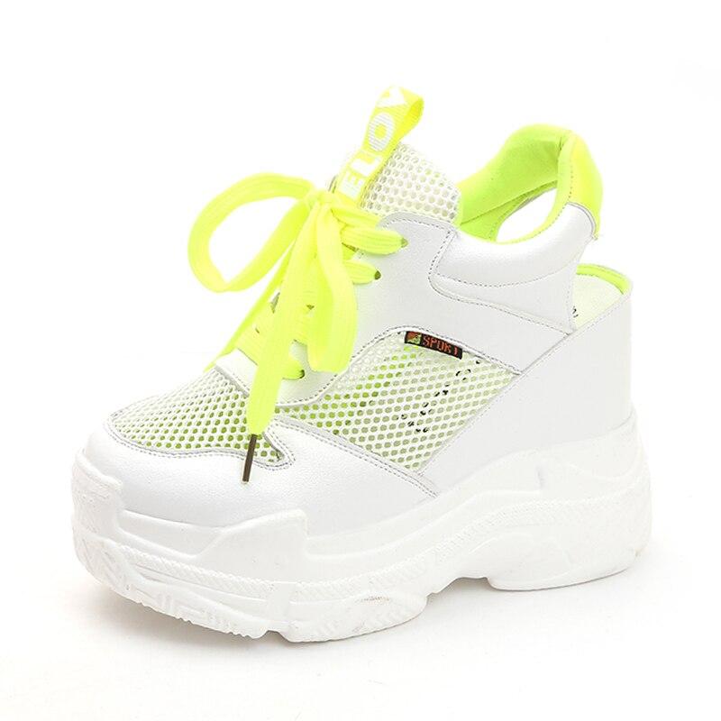 6f1c31482f211 Mode Hauts jaune Sneakers forme D été Air Plate Rose Sandalias Talons Mesh  Respirant De Femme Femmes Sandales Chaussures Casual Cales ...