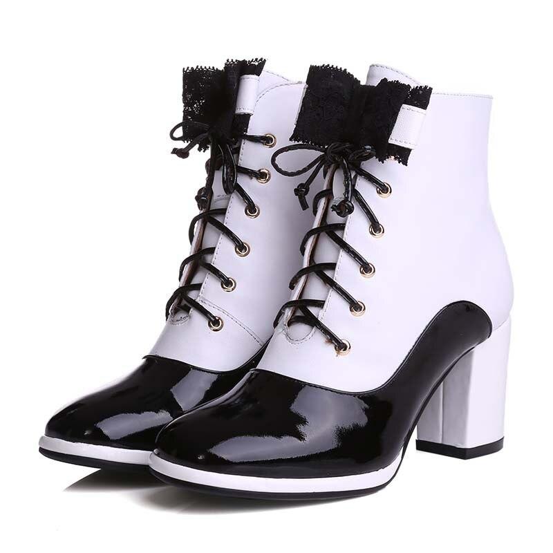 Lacets En Talons Dames White Couleurs Femme Bottines À Bottes Mélangées Chaussures Cuir Bowtie Pour Courtes Femmes Enmayla Noires Hauts Véritable Black zw7Ywx