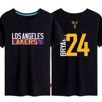 S 2XL Plus Size Team LA Lakers Cotton Summer T Shirt Number 24 Sport Wear Top