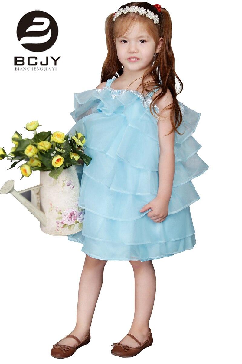 2019 Knee Length Blue   Flower     Girl     Dress   with Bows A Line Tiered Kids Party Wear Frocks   Girls     Flower     Girl     Dress   Vestido De Noiva