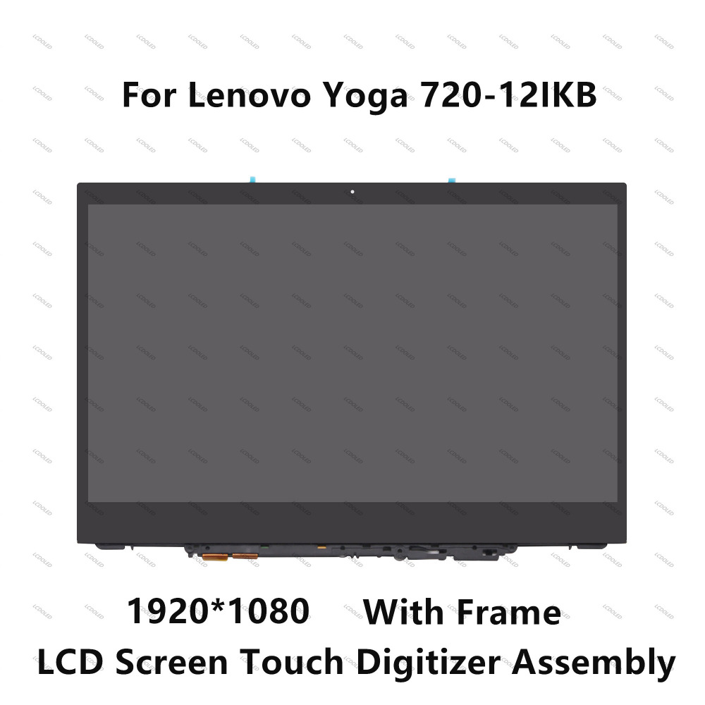 12.5 FHD IPS LCD Screen Display Touch Digitizer Glass Panel Assembly + Frame For Lenovo Yoga 720-12 720 12 Yoga 720 12IKB 81B5 elephone p4000 display 100% original lcd screen touch screen digitzer panel glass repair for p4000 1280 720 hd 5 0inch