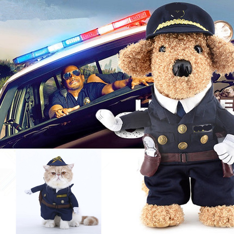Funny Dog Clothing Halloween Police Nurse Dotor Cowboy Pet Clothes Costume Suit Cool Puppy Coat Outfit Cosplay Clothing