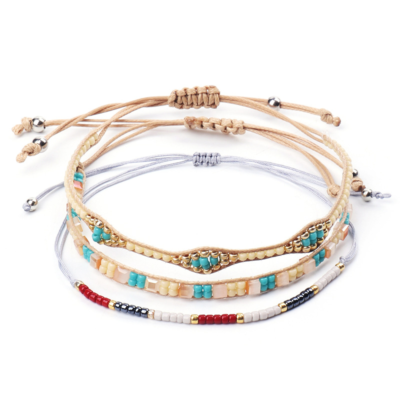 3pcs/set Boho Beaded Bracelet Hand Braided Small Beads Thin Bracelets For Women Bohemia Style DIY Woven Fashion Jewelry