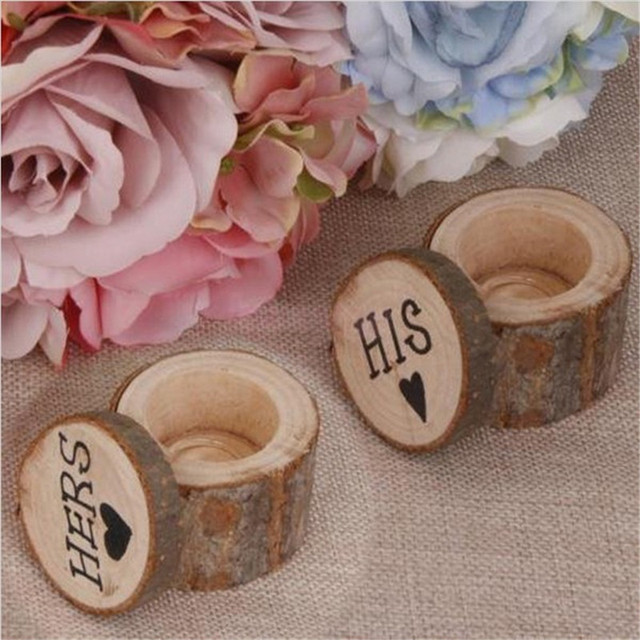 Wedding Ring Holder Wood Pillow Box Storage Vintage Decor Wooden Photography Props For