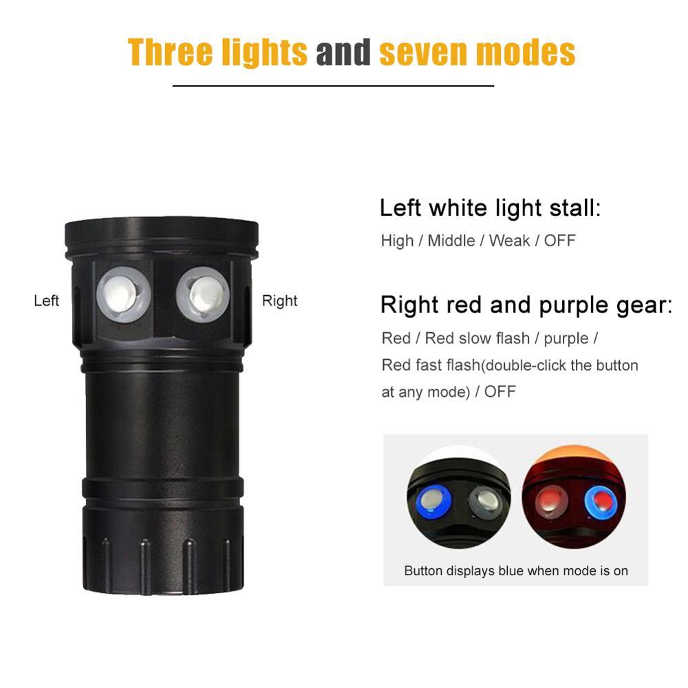 Sous marine 80 m Waterproof18 * XM L2 LED Vidéo De Plongée Rechargeable Tactique Lampe de poche Pour Sous Marin Photographie - 2