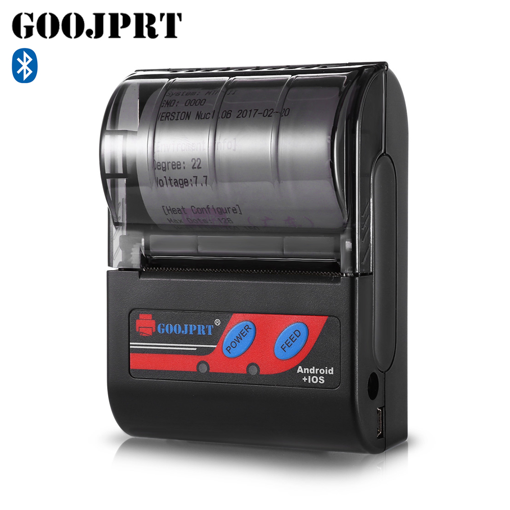 GOOJPRT MTP - II 58MM Bluetooth Thermal Printer Portable Rechargeable Wireless Receipt Machine for Windows Android iOS 80mm/s goojprt mtp ii 58mm bluetooth thermal printer portable rechargeable wireless receipt machine for windows android ios 80mm s