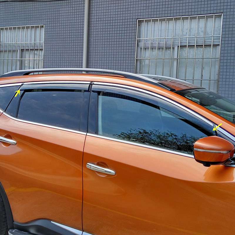 Car Styling Exterior Window Visor Vent Rain/Sun/Wind Guard Cover For Nissan Murano 2015-2018
