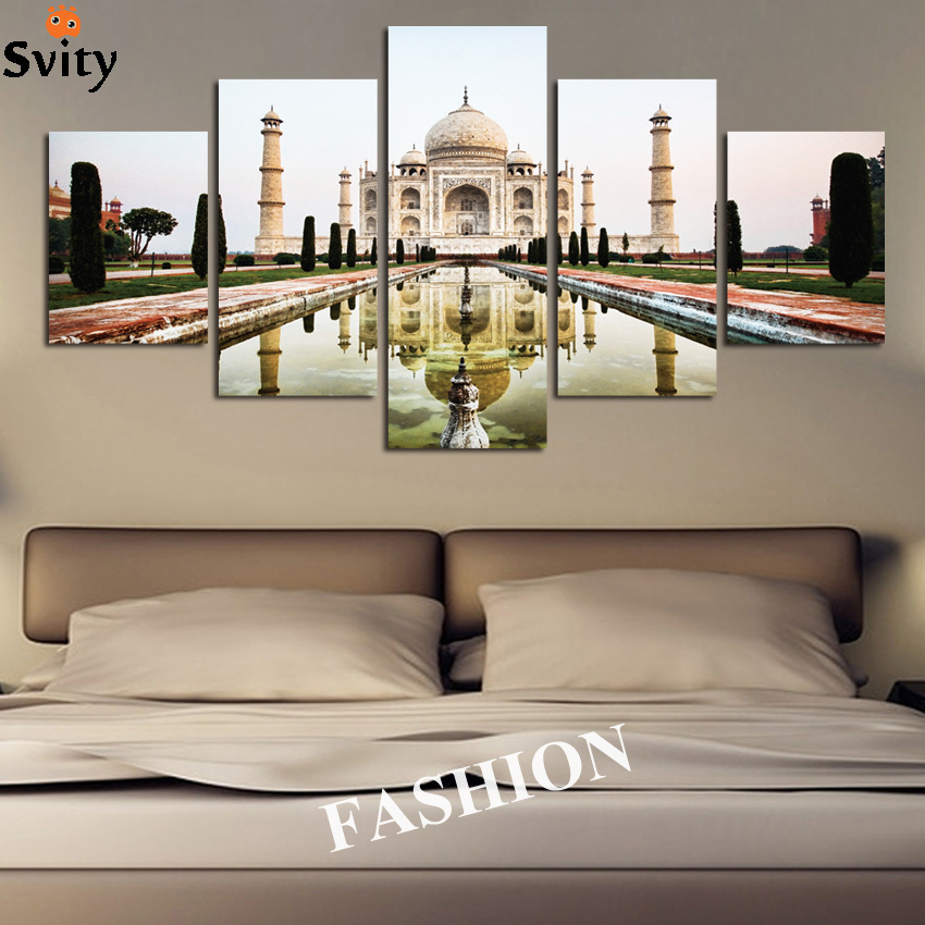 a366a7cdb9 5 pcs Simples Moderno Da Índia Taj Mahal paisagem sombra cartaz da lona  decoração de casa arte da parede pintura frete grátis melhor venda