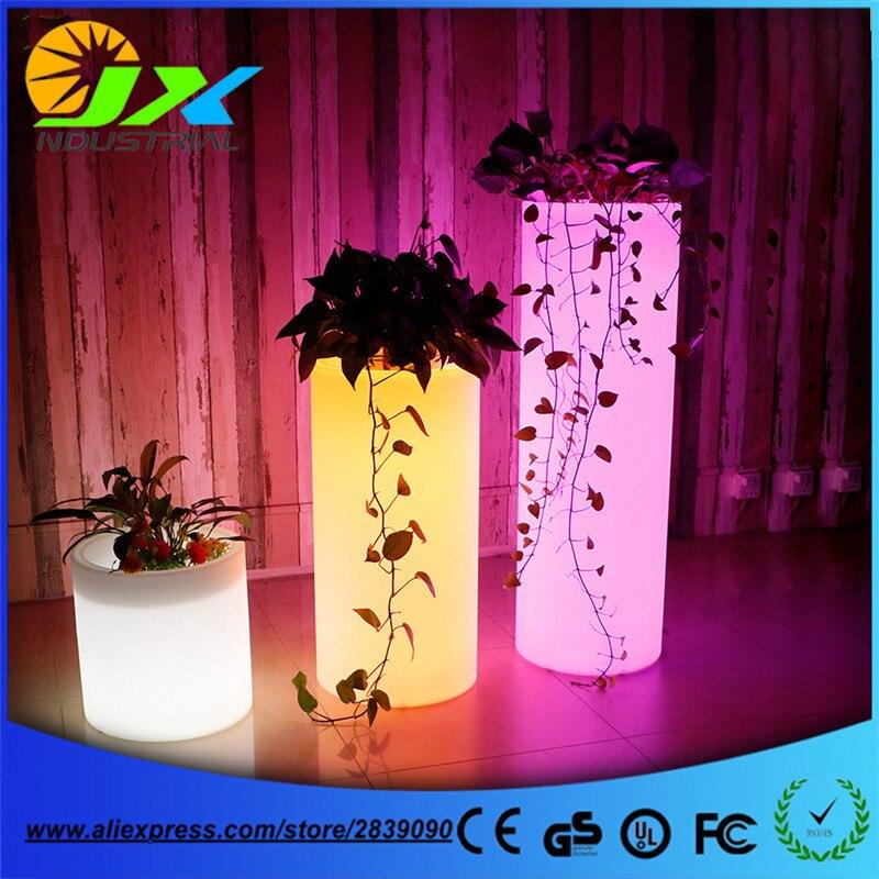 waterdichte oplaadbare batterij multi color changing led plant pot afstandsbediening led bloempot outdoor verlichte tuin potten in waterdichte oplaadbare