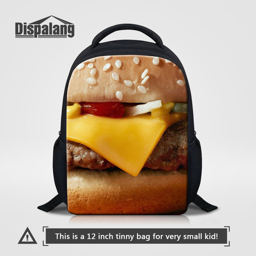 Dispalang 3D Printing Hamburger School Bags For Preschoolers Children Small Kindergarten Backpack Boys Girls Shoulder Bag Rugzak