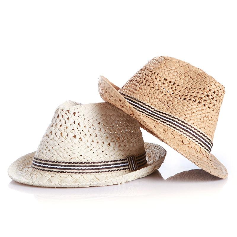Fashion Summer Child Straw Sun Hats Trilby Gangster Cap Boy Girl Wide Brim Sunhat Kids Beach hat Panama Hat