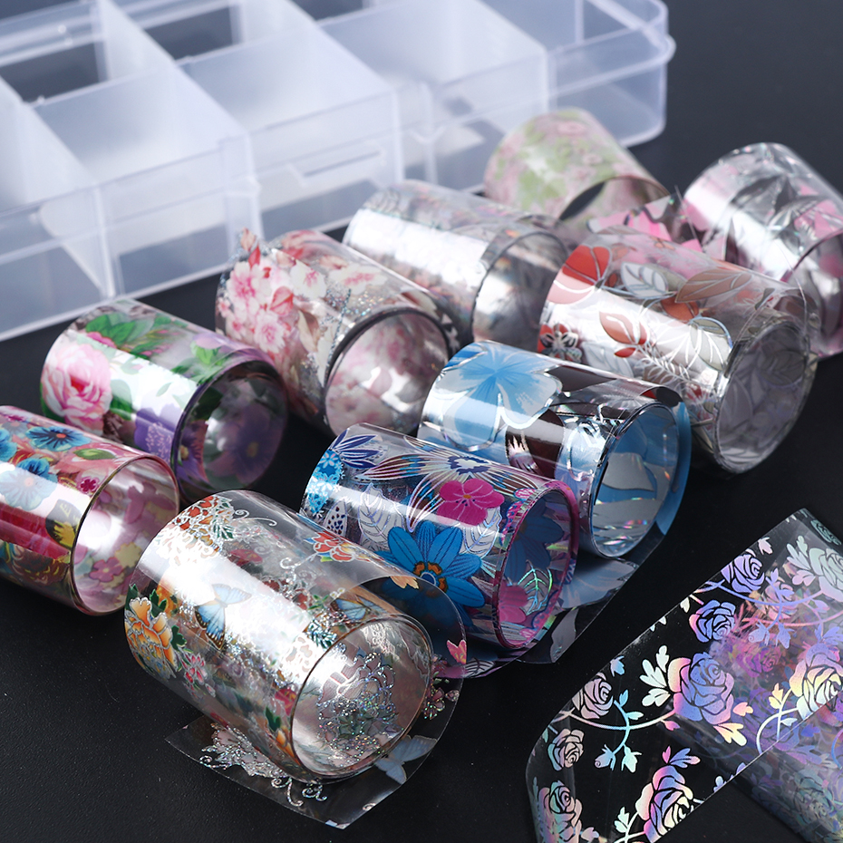 10 Roll Nail Foil Set Bloom Flowers Sliders Nail Art Transfer Foil Decal Starry Sky Sticker Gel Tips Manicure Wraps Decor LA1025-in Stickers & Decals from Beauty & Health