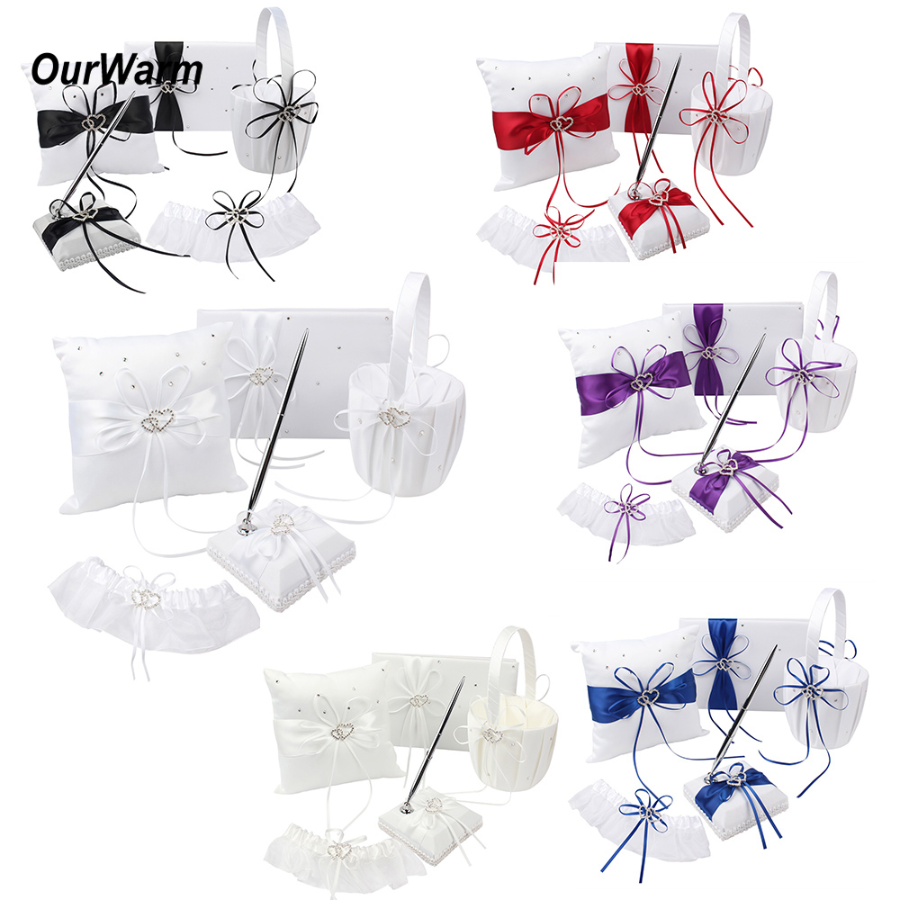 5pcs lot Wedding Guest Book and Pen Sets Brand Ring Pillow Flower Basket for Wedding Decoration