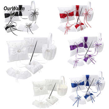 5pcs Wedding Guest Sets Guestbook Pen Cushion Ring Pillow Flower Basket Wedding Decoration Event Party Supplies 8 Colors - DISCOUNT ITEM  15% OFF All Category
