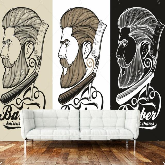 Papel Pintado Retro 3d Mural Con Logo De Barbero Para Barberia