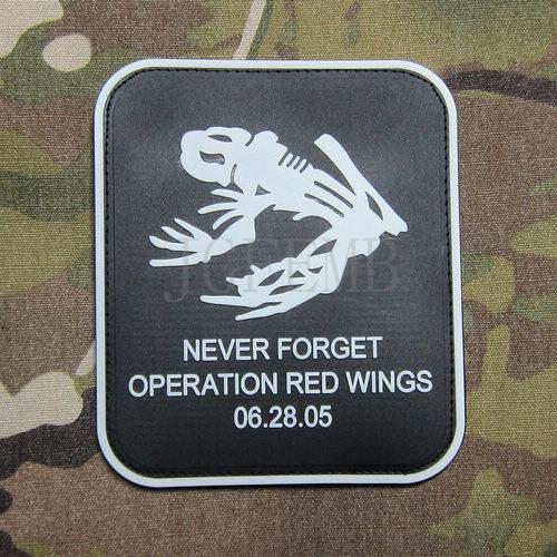 black background luminous design DEVGRU Seal Skull Frog Operation Red Wings Never Forget Morale 3D PVC patch BadgesPB547