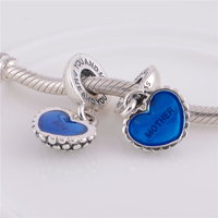 Fits pandora Bracelet Threaded Charms 925 sterling silver jewelry Mother and son Blue love heart Silver beads Diy making