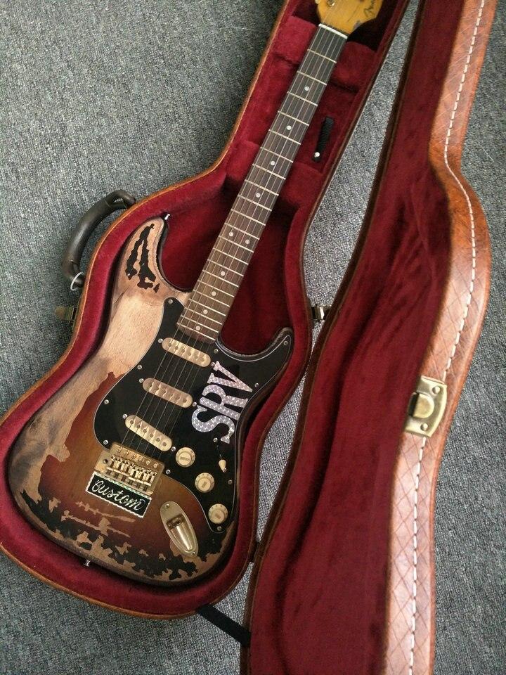Stock en stock.!! haute Qualité La nouvelle main reste ST SRV guitare électrique, Faire vieux électrique guitare, Real photo, en gros