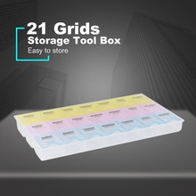 цена на 21 Grids Tools Casket Packaging Box Electronic Components Chips Screw Container Protable Storage Screw Jewelry Tool Case