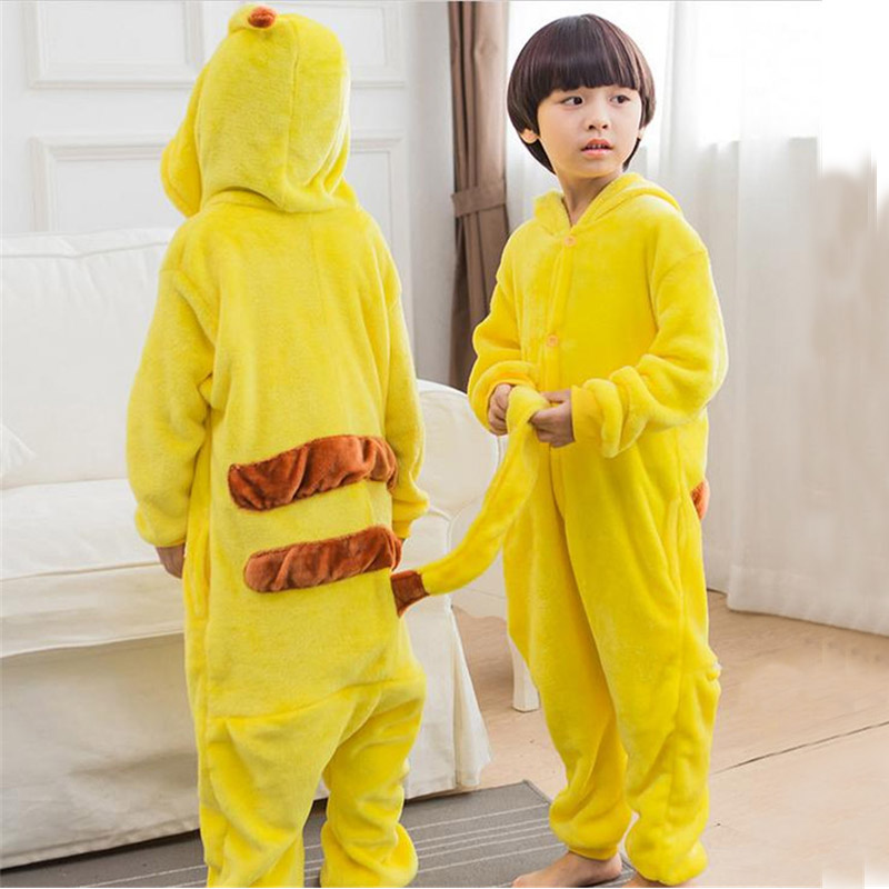 Milankerr Halloween Cosplay Pokemon Pikachu Costume For Kids Japan Anime Pikachu Flannel Sleepwear Unisex Children Pajamas