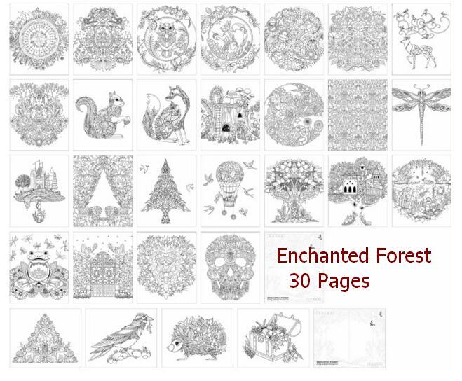 30 Sayfa Büyülü Orman Jel Boyama Kitabı Ingilizce Sürümü Renk Kalem