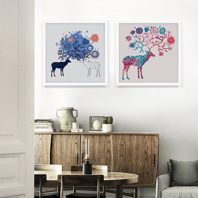 Abstract deer with twig decorative painting canvas wall art picture home decor prints for bedroom fashion