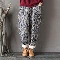 Mulheres Inverno Quente Do Vintage Harem Pants Algodão Literário Elástico Na Cintura Solta Engrossar calças Acolchoadas Calças Padrão de Impressão Floral