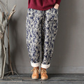 Women Vintage Winter Warm Cotton Harem Pants Literary Elastic Waist Loose Thicken trousers Padded Trousers Floral Print Pattern