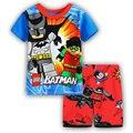 YS-16, batman, summer children boys clothing set, short sleeve T shirt  sets for 2-7 year, 100% cotton