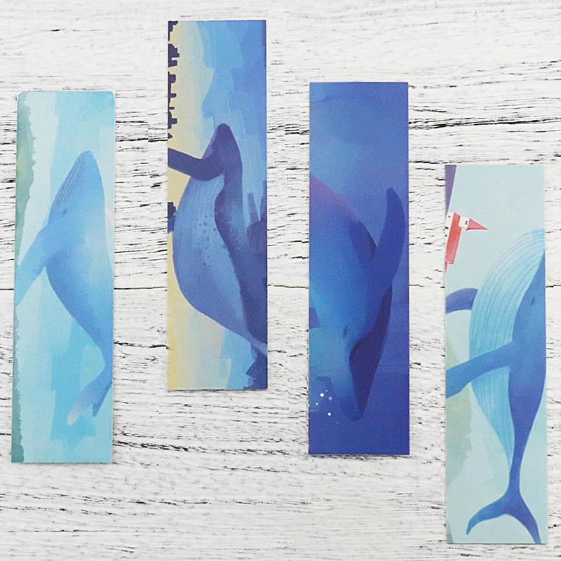 30 Pcs/box Whale Island Paper Bookmark Ocean Design Postcard Environmental Theme Stationery Korean Gift Cards