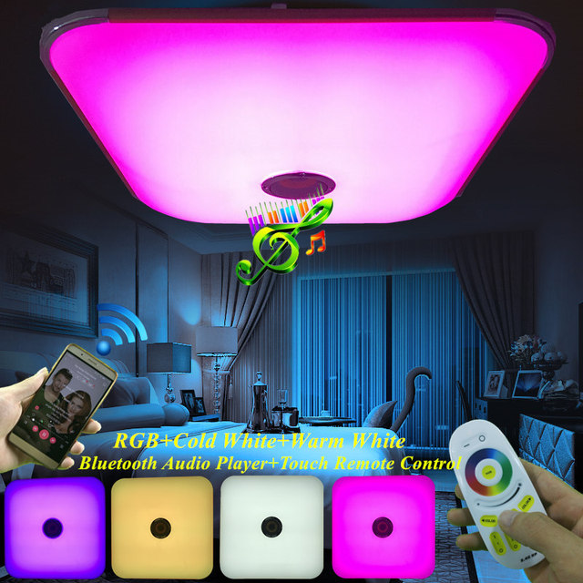 Modern Music Ceiling Light Bluetooth Speaker Led Light Remote Control Dimmable RGB LED Warm white Acrylic Square Ceiling Lamp
