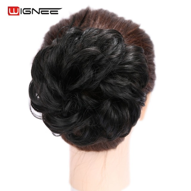 Wignee Synthetic Fiber Curly Chignon Elastic Band Scrunchie Fake Hair  Extension Bundles Updo Hairpiece Buns Drawstring 9283cae043c
