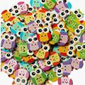 100Pcs Lovely Owl Animal Wooden Button Sewing Scrapbooking DIY Craft 2 Holes Mixed Color