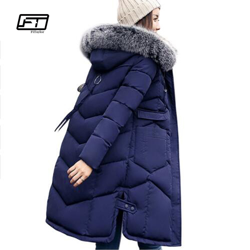 Fitaylor Fur Collar Women Winter Thick Jackets Plus Size  Long Cotton Padded Coat  Hooded Warm Outerwear Overcoat Parka Jackets fitaylor 2017 fur collar hooded winter jacket women long cotton padded female coat overcoat outerwear inverno warm slim coats