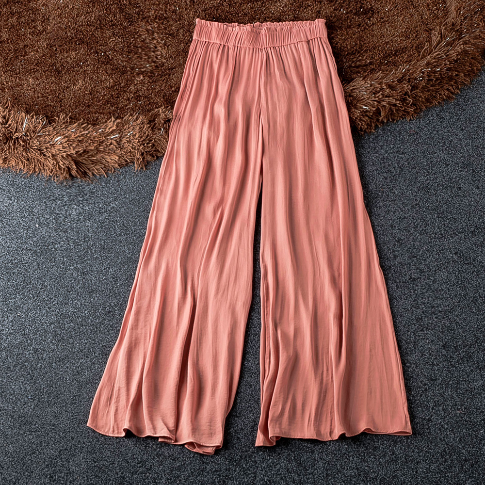 Good Quality Sorft Stain   Wide     Leg     Pants   2019 Stylish New Sale Solid Pantalones Trousers Women Elegant Sexy Floor Length   Pant