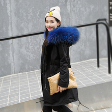 2017 New Winter Real Raccoon Fur Jacket Women's Plus Size Long Thick Parker Coat With Large Fur Hooded
