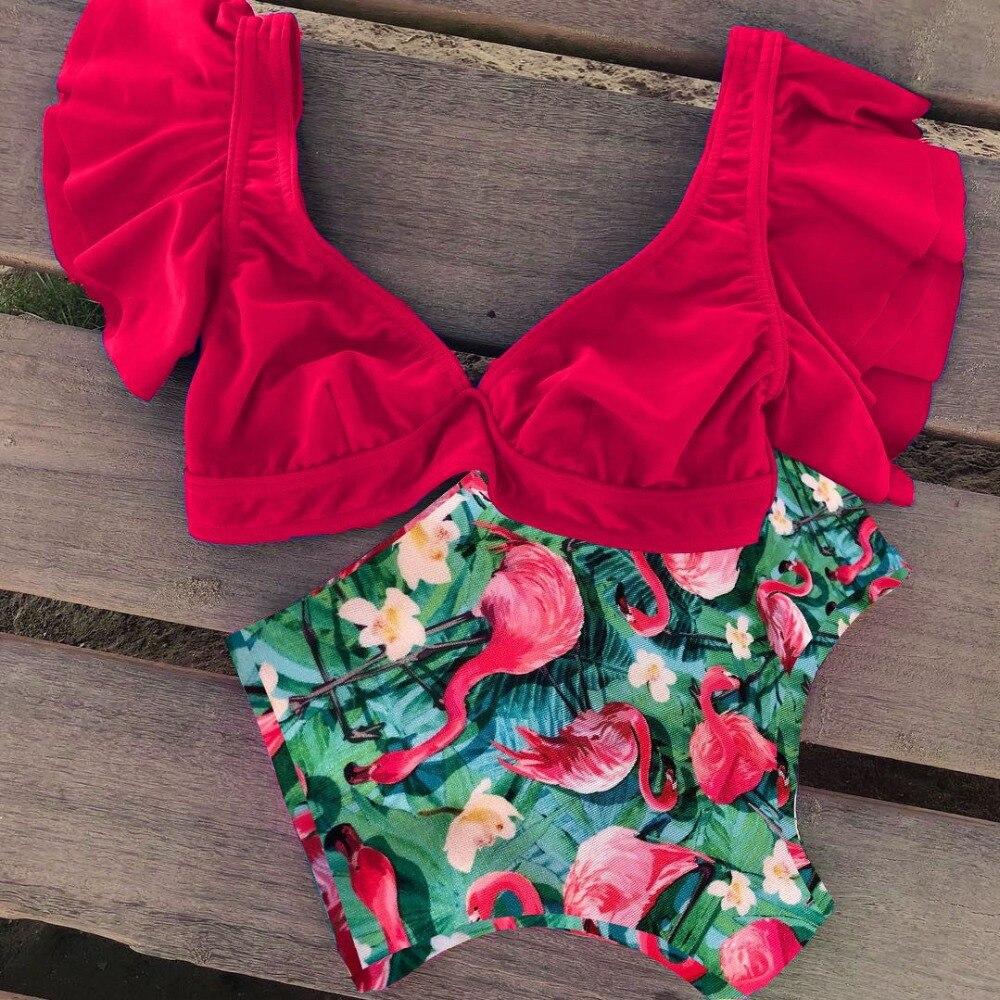 HTB1Md0uVYrpK1RjSZTEq6AWAVXaD 2019 Print Swimwear Women High Waist Bikini Ruffle Swimsuit Push Up Bikinis Set Bathing Suit Beach wear Summer Biquini Female