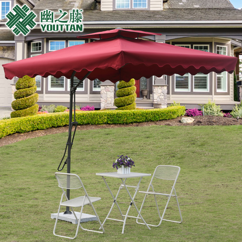 Outdoor Leisure Furniture Folding Umbrella Balcony Tables And Chairs Shaded Garden Patio Booth Large Beach Rome