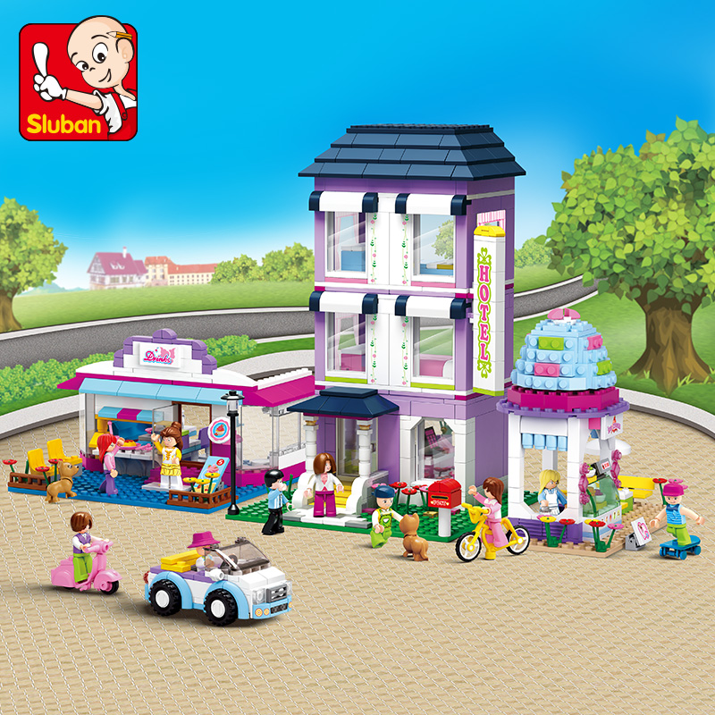 Sluban Model building kits City street compatible with lego city 3D blocks Educational model & building toy hobbies for children