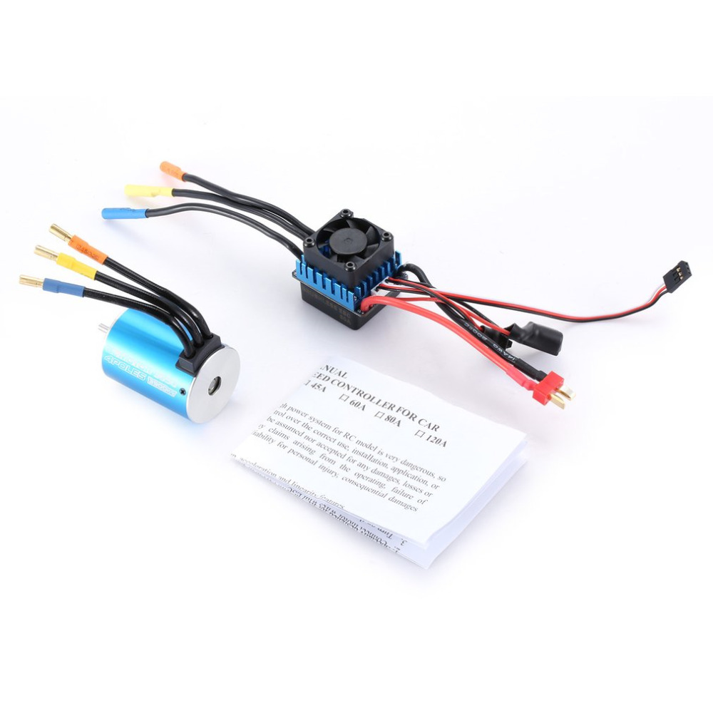 OCDAY 3650 3900KV Sensorless Brushless Motor with 60A Brushless ESC Electric Speed Controller for 1/10 Scale RC Toy Car Parts dual mode drive brushless motor speed controller esc