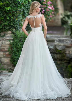 Delicate Tulle V-neck Neckline A-line Wedding Dress With Beaded Lace Appliques Spaghetti Straps Bridal Gowns