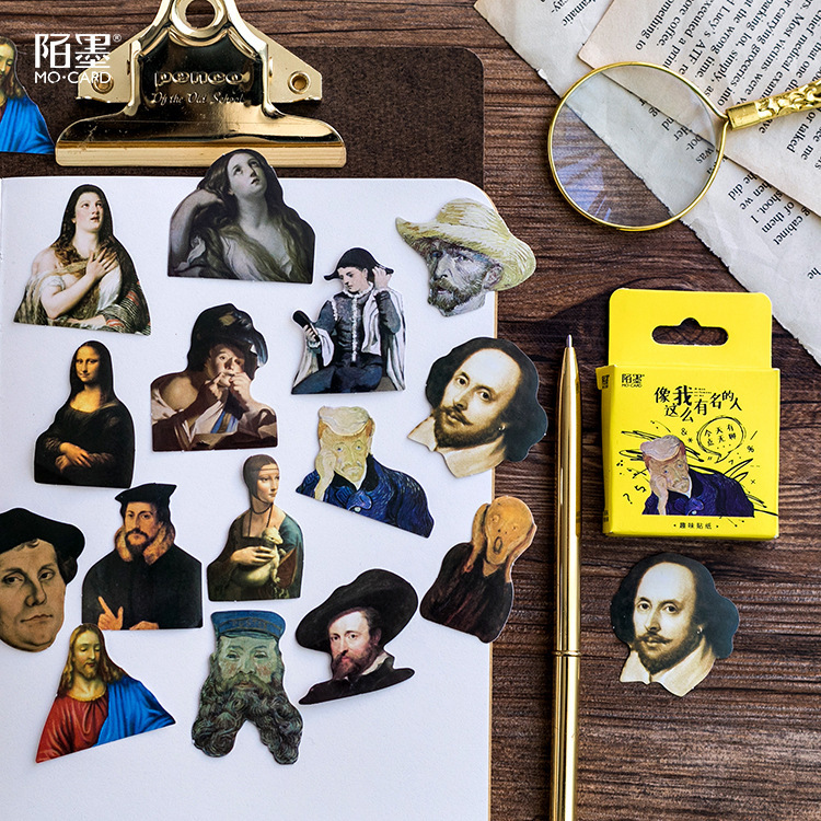 45pcs Boxed Special-shaped Vintage The Renaissance Portrait Adhesive Sticker Sticky Notes School Office Supplies Stationery