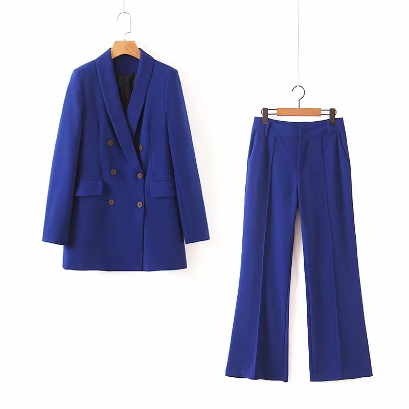 Women's Suits 2019 Autumn New Women's Wild Color Loose Double-breasted Long Suit Jacket Casual Pants Suit High Quality
