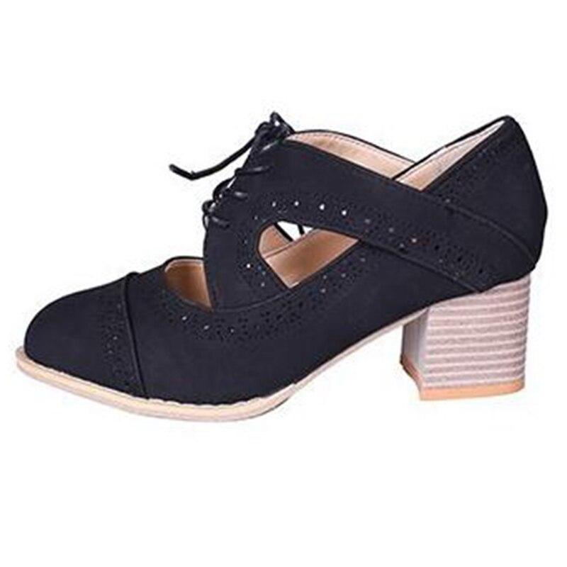 Covoyyar Alto Señora Cordones Bombas Bloque 2019 Corte Nuevo Sandalias marrón Whh678 De gris Zapatos Negro Transpirable Retro Tacones Vintage Mujer fxwfgr