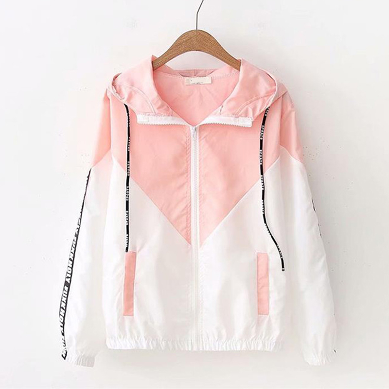 Summer Thin Women   Trench   Coat Sunscreen Sun protection Clothing Color Matching Hooded Outwear Student Short Coat Female Tops 844