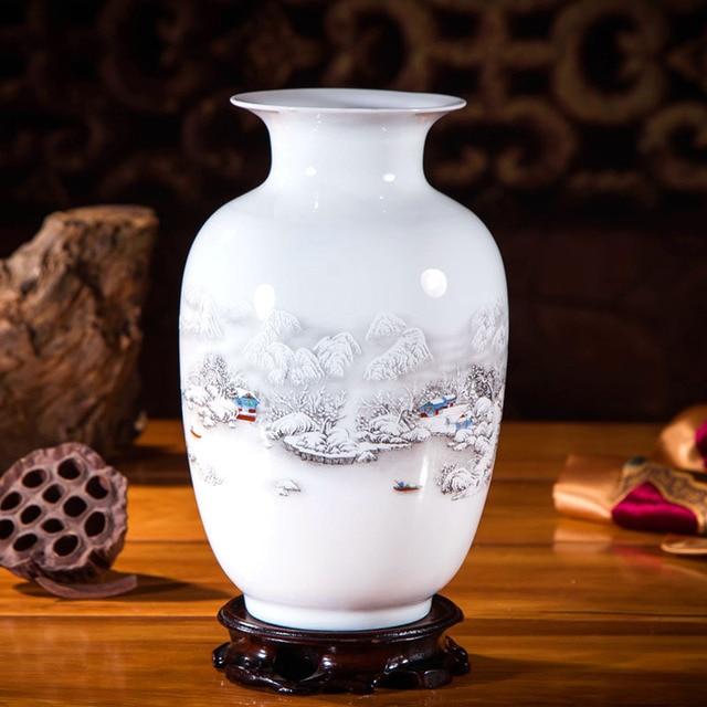 OUSSIRRO Jingdezhen Ceramic Vases Pottery Decoration Living Room Flower Arrangement Modern Home Simple TV Cabinet  Ceramic Gift 2