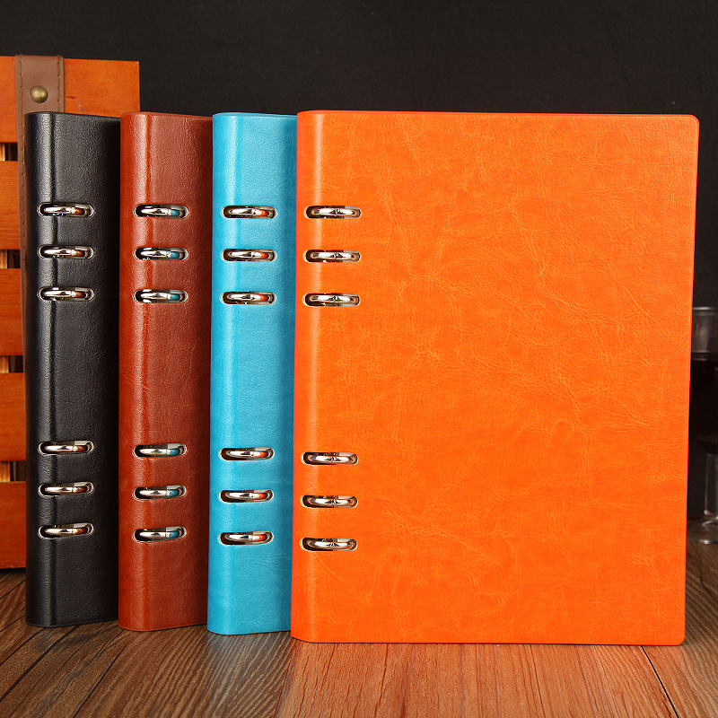 2017 A5 vintage notebook stationery business loose leaf A5 folder diary note book agenda journal planner office commercial book high quality pu cover a5 notebook journal buckle loose leaf planner diary business buckle notebook business office school gift