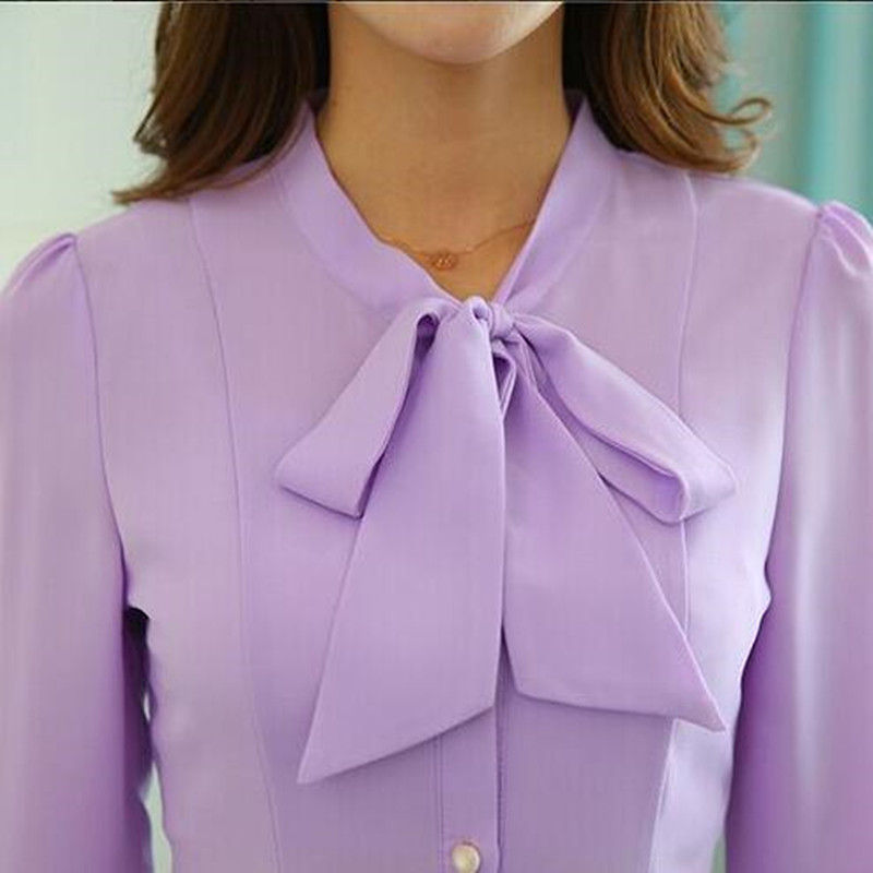 3050f71f3c0ac3 Mrs win 2017 bow Lavender blouses women OL spring formal slim long sleeve  chiffon shirt office ladies plus size work wear tops-in Blouses & Shirts  from ...